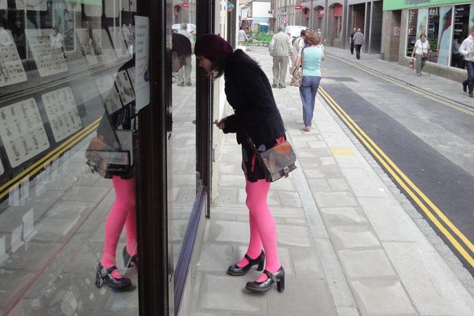 Posing in Pyle Street, Newport