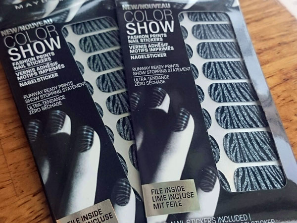 'Zebra Night' nail stickers by Maybelline
