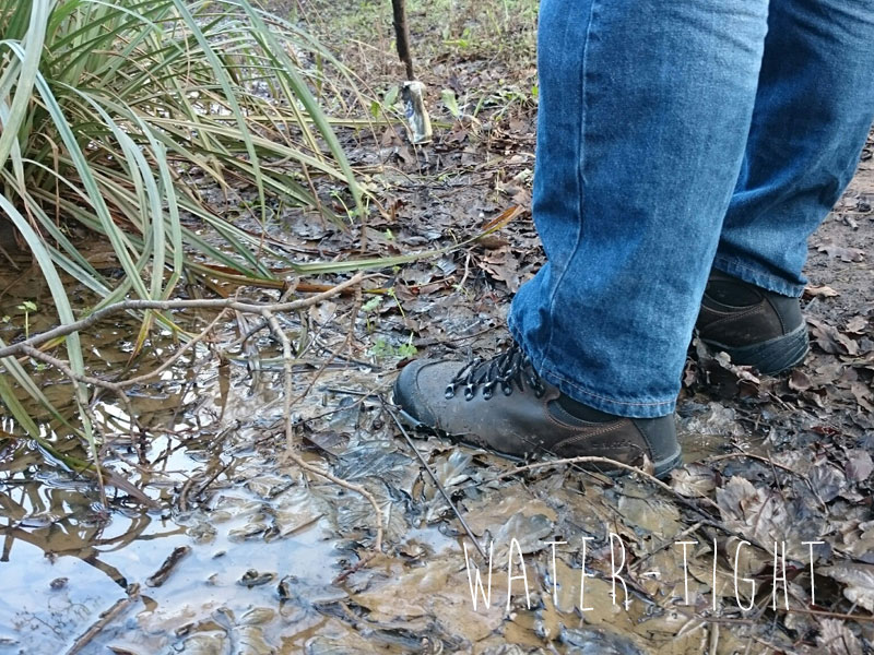 Retrieving an old can with a stick. HiTec boots coping with a marshy puddle.