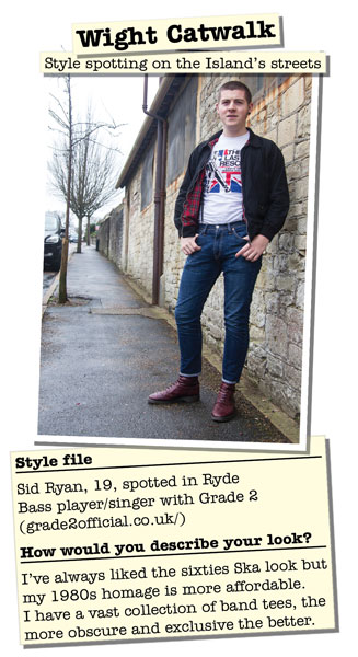 Sid Ryan was initially a Wight Catwalk street style spot in the Isle of Wight County Press.