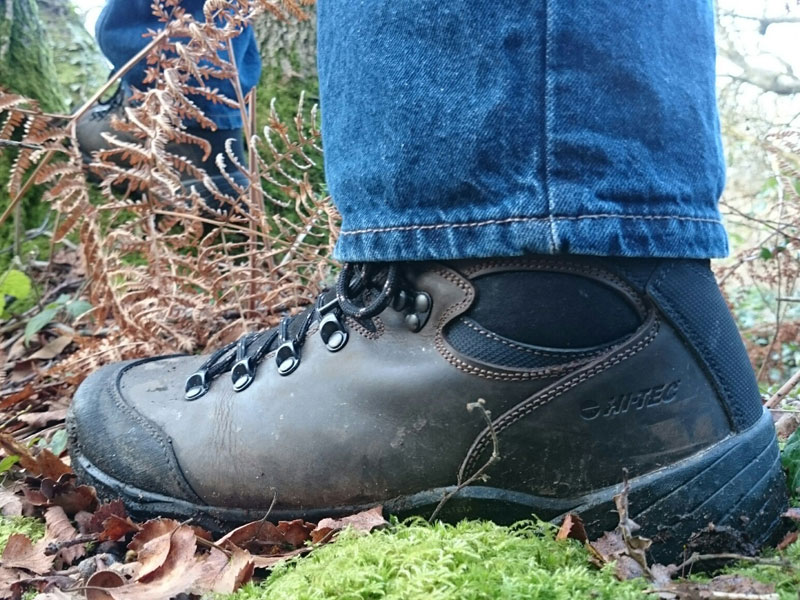 HiTec Altitude Pro walking boots coping with a mossy bank